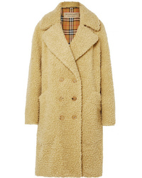 Burberry Oversized Double Breasted Wool Blend Faux Shearling Coat