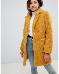 New Look Teddy Fur Coat In Mustard
