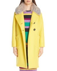 Lela Rose Double Breasted Brushed Wool Coat With Genuine Fox Fur Collar