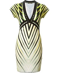 Roberto cavalli tribal striped v neck dress medium 148921