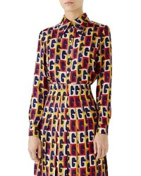 Gucci G Sequence Print Silk Shirt