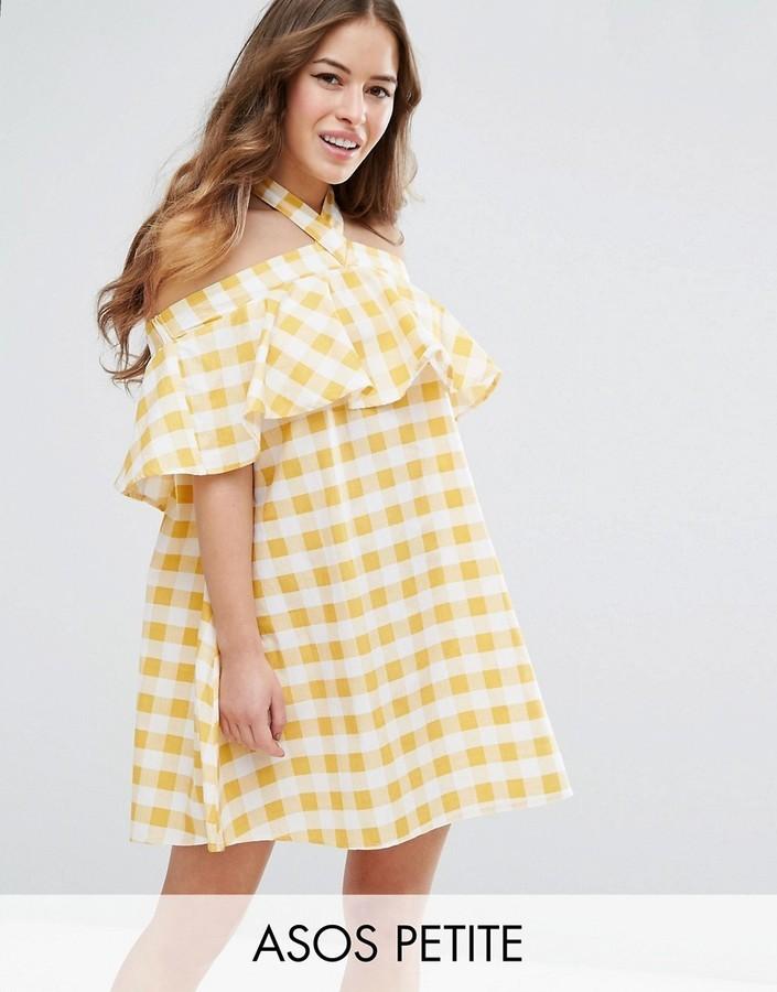 Asos Petite Petite Halter Neck Sundress In Gingham | Where to buy ...