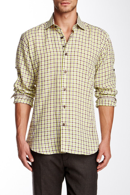 Bertigo danilo gingham print long sleeve woven shirt for Mens yellow gingham shirt