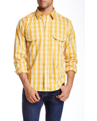 Yellow Gingham Long Sleeve Shirts for Men | Men's Fashion