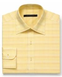 Sean John Dress Shirt Yellow Gingham Check Long Sleeved Shirt