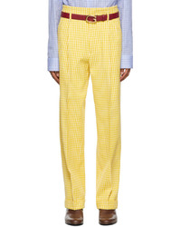 Gucci Yellow Off White Vichy Crpe Trousers