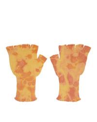 The Elder Statesman Yellow Heavy Tie Dye Fingerless Gloves