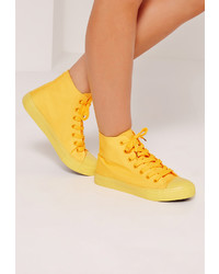 Missguided High Top Lace Up Toe Cap Trainers Yellow