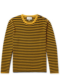 Gucci Button Embellished Striped Cotton Sweater