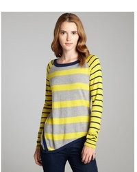 Jamison Cobalt And Heather Contrast Striped Asymmetrical Sweater