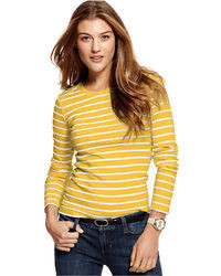 Tommy Hilfiger Long Sleeve Striped Crew Neck Top