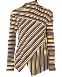 MARQUES ALMEIDA 7 For All Mankind Asymmetric Striped Ribbed Cotton Jersey Top
