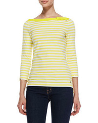 Kate Spade New York Devon 34 Sleeve Striped Top Lemon Yellowfresh White