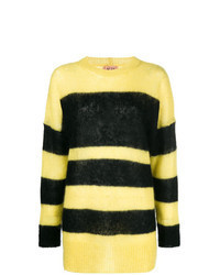 Yellow Horizontal Striped Oversized Sweater