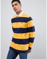 Yellow Horizontal Striped Polo Neck Sweater