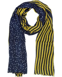 Stripes and stars wool blend long scarf medium 111545