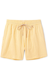 Loro Piana Mid Length Striped Cotton Blend Swim Shorts