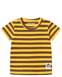 Mini Rodini Yellow Stripe Rib Tee