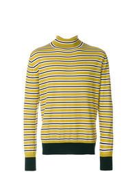 Yellow Horizontal Striped Turtleneck