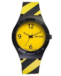 Jack Spade Graphic Caution Watch 38mm Black Yellow