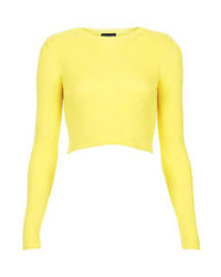 River Island Yellow Fluffy Knit Cropped Sweater | Where to buy ...