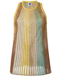 Multi metallic stripe knit vest medium 4381409