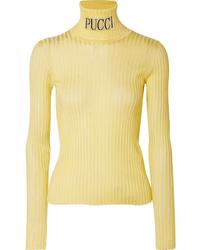 Emilio Pucci Intarsia Ribbed Knit Turtleneck Sweater