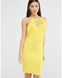 Yellow Lace Bodycon Dress