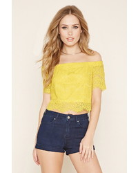 Forever 21 Lace Off The Shoulder Crop Top