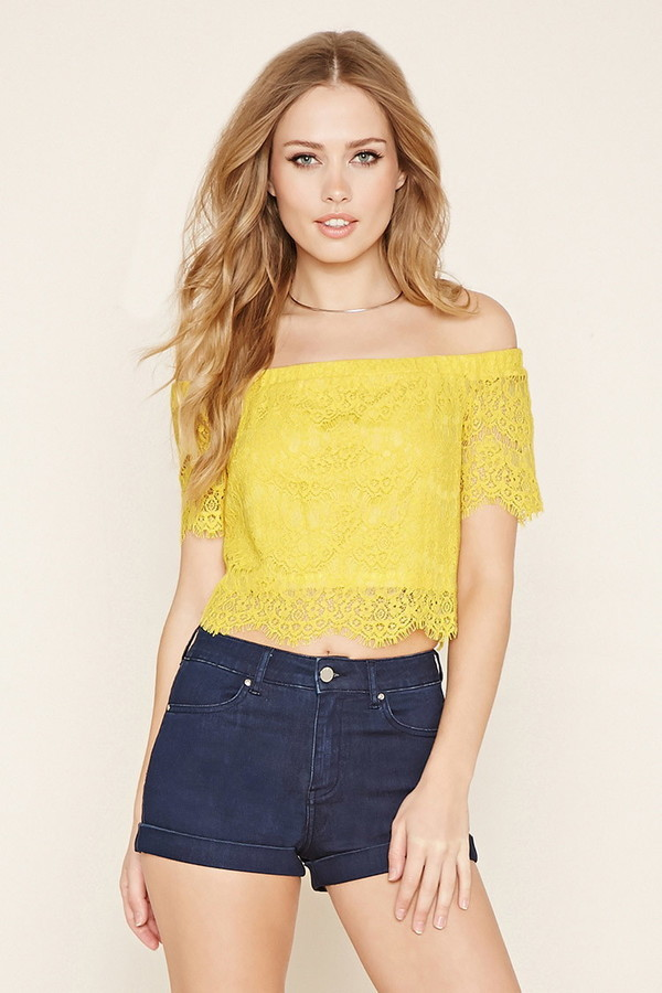 ad673631ce6fe Forever 21 Lace Off The Shoulder Crop Top