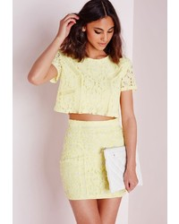 Missguided floral lace ladder detail crop top yellow medium 272032