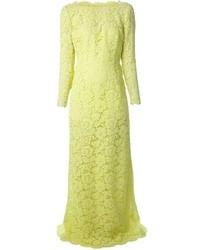 Yellow Lace Evening Dress