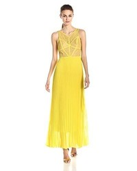Bcbgmaxazria rosalie lace and pleated gown medium 365889