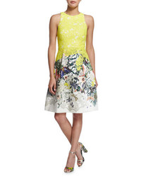 Monique Lhuillier Sleeveless Fit  Flare Dress Yellow