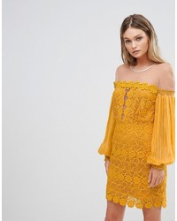 Three floor Bardot Lace Mini Dress With Bell Sleeves