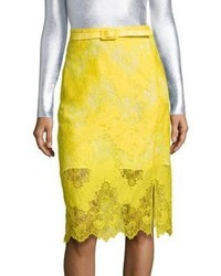 Belted lace pencil skirt medium 1192954