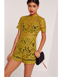 45b08e30b57 ... Missguided Lace High Neck Playsuit Yellow