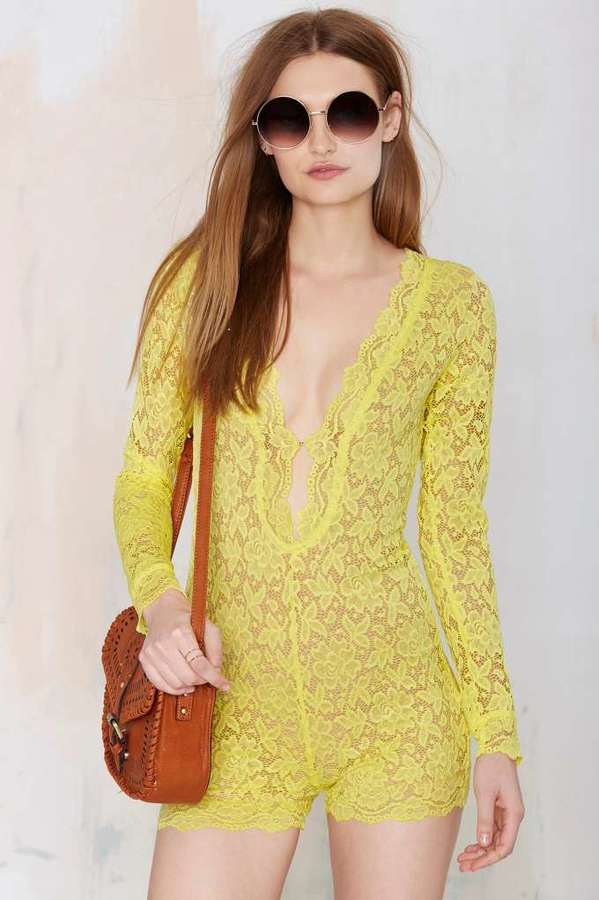 8237bbe97c1 ... Yellow Lace Playsuits Nasty Gal Factory Gimme Shelter Lace Romper ...