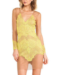 Choies Yellow V Neck Long Sleeve Backless Lace Dress