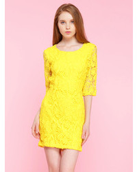 Choies Lace Open Back Bodycon Dress In Yellow