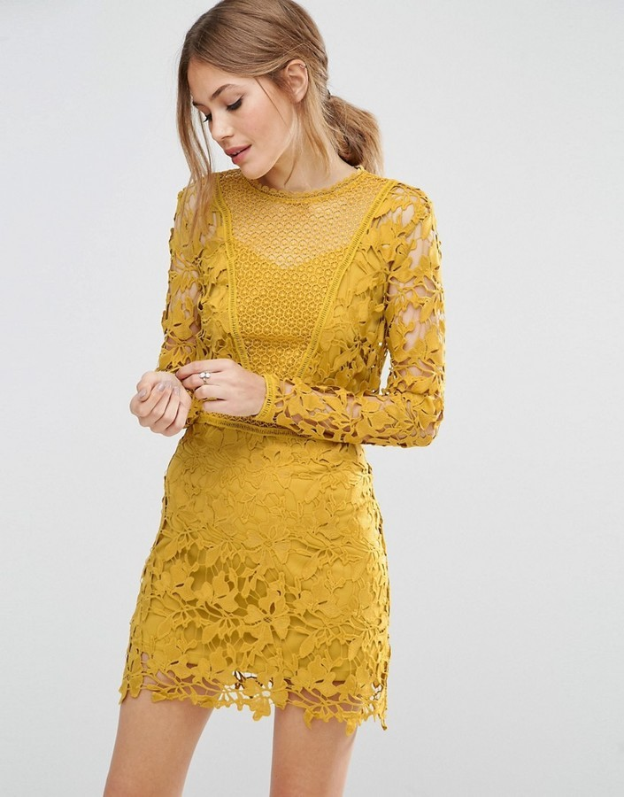 6a05b49bd2c ... Asos Mustard Lace Long Sleeve Paneled Shift Dress ...