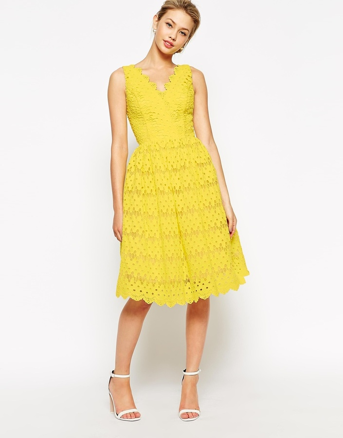 bf3f912ff9d ... Yellow Lace Skater Dresses Chi Chi London Scallop Lace Full Midi Dress  ...