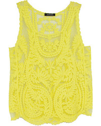 Choies yellow crocheted lace vest medium 88762
