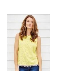 M co sleeveless lace overlay summer top yellow 16 medium 38581