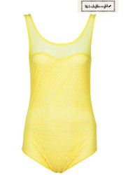 Yellow lace gauze bodysuit medium 156766