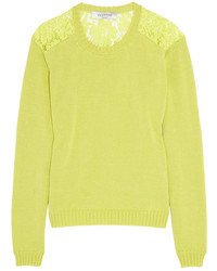Valentino Cotton And Lace Sweater