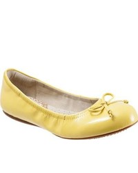 SoftWalk Narina Yellow Crinkle Patent Leather Ballet Flats