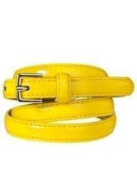 Circa Merona Patent Skinny Belt Yellow S