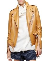 3.1 Phillip Lim Leather Biker Jacket Saddle