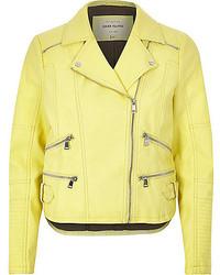 River Island Light Yellow Leather Look Zip Biker Jacket
